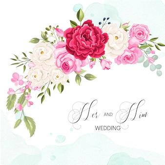 Modèle de carte invitation de mariage magnifique avec feuilles florales