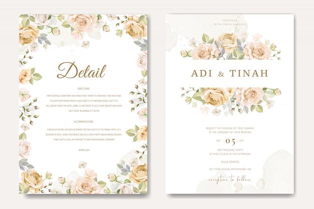 Modèle de carte invitation de mariage magnifique avec des roses blanches et jaunes