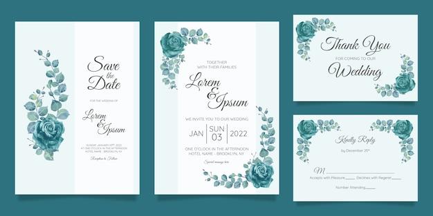 Modèle de carte d'invitation de mariage magnifique serti de cadre floral géométrique