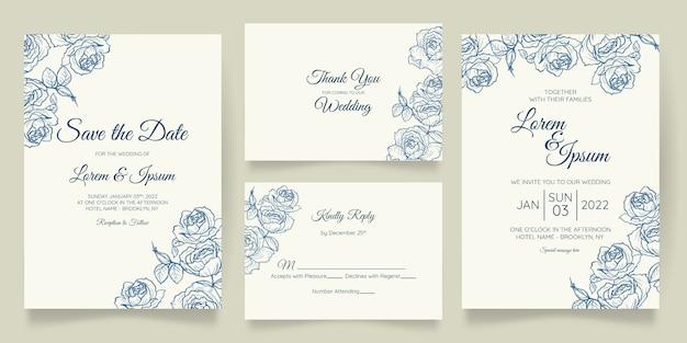 Modèle de carte d'invitation de mariage magnifique serti de cadre floral