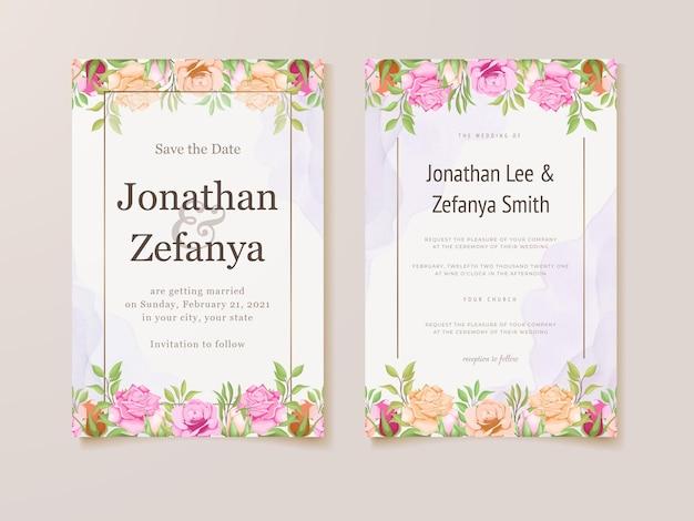 Modèle de carte d'invitation de mariage avec un magnifique vecteur floral