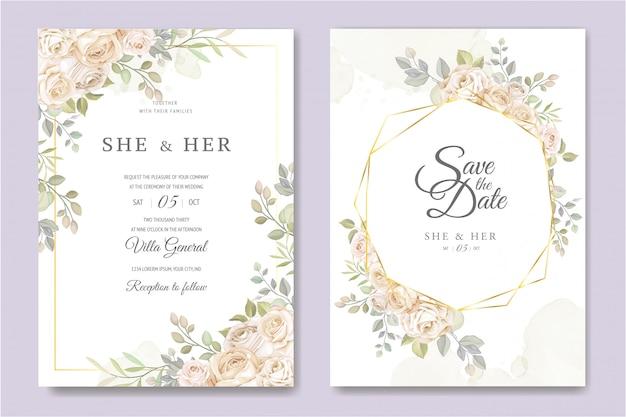 Modèle de carte d'invitation de mariage magnifique