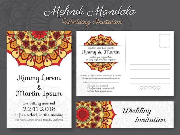 Modèle de carte d'invitation de mariage de mandala