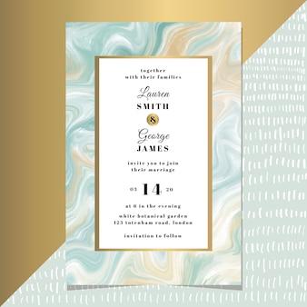 Modèle de carte d'invitation de mariage avec marbre bleu jaune