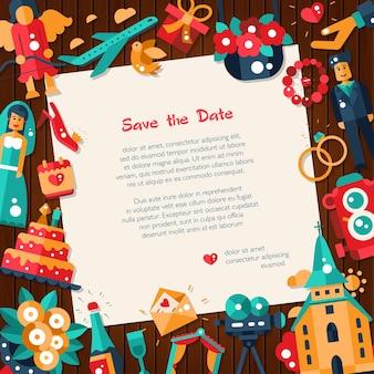Modèle de carte d'invitation de mariage et de mariage design plat