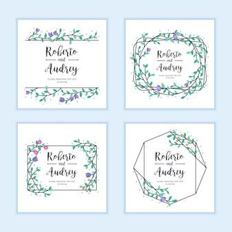 Modèle de carte invitation mariage mariage. mise en page avec cadre floral et feuilles colorées