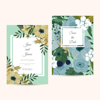 Modèle de carte d'invitation de mariage mignon