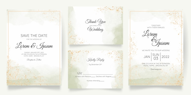 Modèle de carte d'invitation de mariage pastel aquarelle sertie de décoration florale dorée