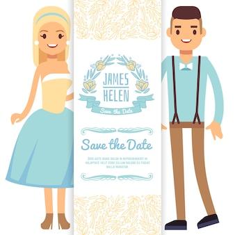 Modèle de carte d'invitation de mariage. personnage de dessin animé mariée et le marié isolé