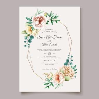 Modèle de carte d'invitation de mariage pivoine élégante