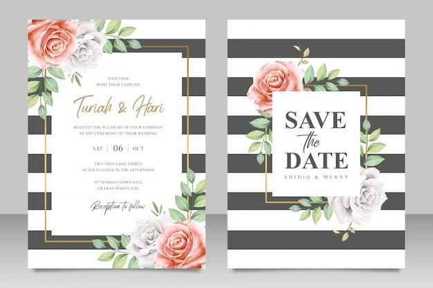 Modèle de carte d'invitation de mariage rayé belle