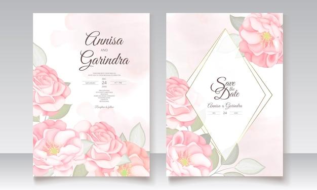 Modèle de carte d'invitation de mariage romantique sertie de belles feuilles florales