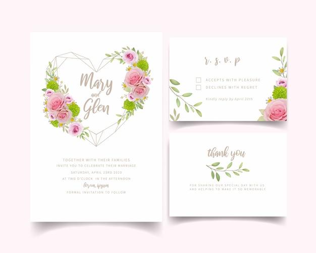 Modèle de carte d'invitation de mariage avec des roses roses florales