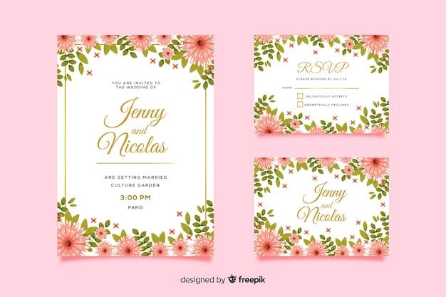 Modèle de carte d'invitation de mariage et rsvp