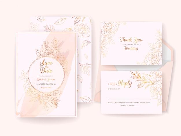 Modèle de carte d'invitation de mariage serti de cadre floral doré, bordure et motif. composition de fleurs de ligne