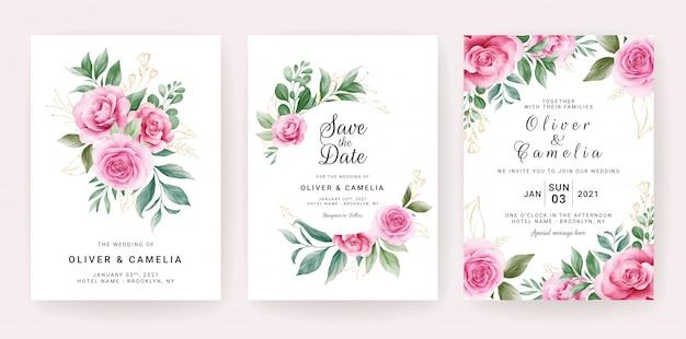 Modèle de carte d'invitation de mariage sertie d'arrangements floraux aquarelles et bordure.