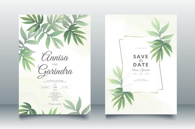 Modèle de carte d'invitation de mariage sertie de belles feuilles tropicales