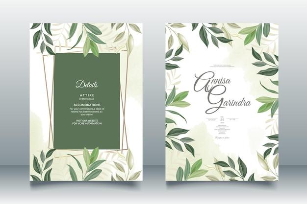 Modèle de carte d'invitation de mariage sertie de belles feuilles
