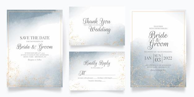 Modèle de carte d'invitation de mariage sertie de décoration aquarelle