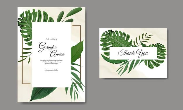 Modèle de carte d'invitation de mariage sertie de décoration de feuilles tropicales