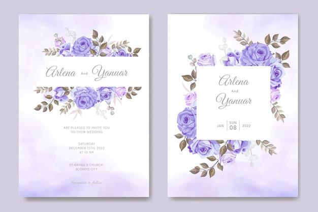 Modèle de carte d'invitation de mariage simple avec floral