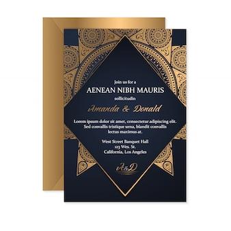 Modèle de carte d'invitation de mariage avec style ethnique, design oriental