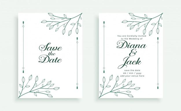 Modèle de carte d'invitation de mariage style feuilles décoratives