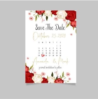 Modèle de carte d'invitation de mariage avec texte et fleur