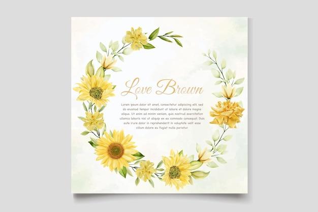 Modèle de carte d & # 39; invitation de mariage de tournesols aquarelle