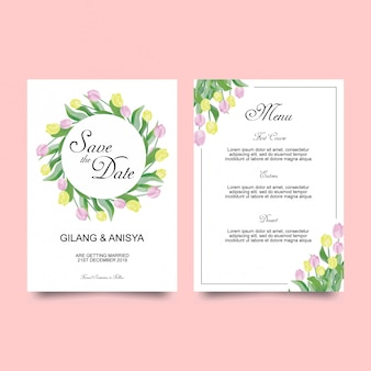 Modèle de carte d'invitation de mariage avec des tulipes
