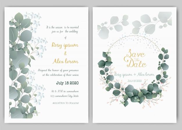 Modèle de carte invitation de mariage verdure, eucalyptus