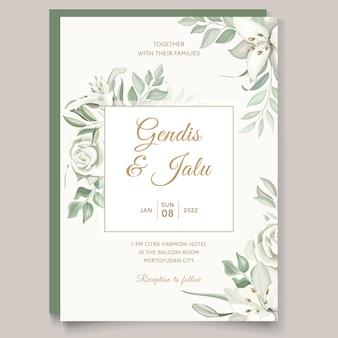 Modèle de carte d'invitation de mariage de verdure avec des lys dessinés à la main