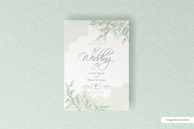 Modèle de carte d'invitation de mariage de verdure