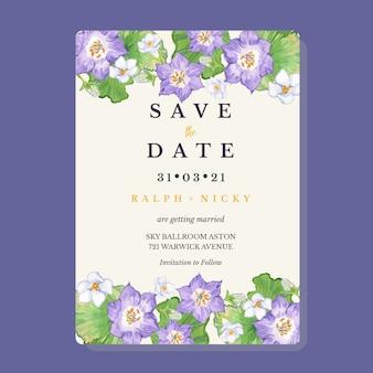 Modèle de carte d'invitation de mariage vintage gentia violet aquarelle