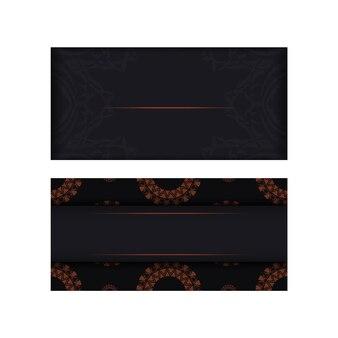 Modèle de carte d'invitation avec place pour votre texte et ornement abstrait. conception vectorielle luxueuse de carte postale de couleur noire avec des ornements orange.