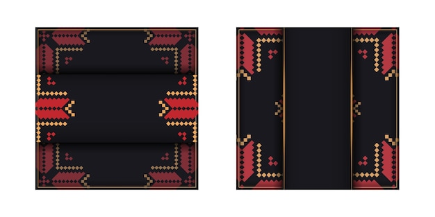 Modèle de carte d'invitation avec place pour votre texte et ornements vintage. conception vectorielle luxueuse d'une carte postale de couleur noire avec un ornement slovène.