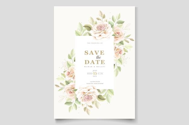 Modèle de carte d'invitation de roses dessinées à la main
