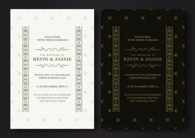 Modèle de carte d'invitation de vecteur doré vintage de luxe
