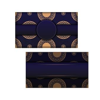 Modèle de carte d'invitation de vecteur avec place pour votre texte et ornements vintage. conception de carte luxueuse de couleur bleue avec des ornements luxueux.
