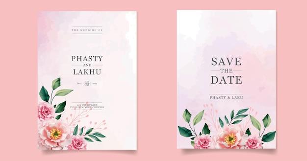Modèle de carte d'invitations de mariage avec belle fleur