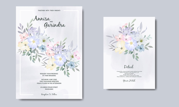 Modèle de carte d'invitations de mariage élégant avec des fleurs et des feuilles colorées