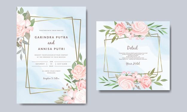 Modèle de carte d'invitations de mariage élégant avec fleurs et feuilles