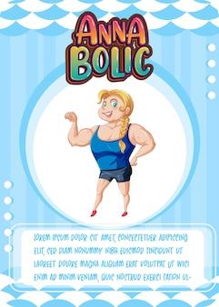 Modèle de carte de jeu de personnage avec le mot anna bolic
