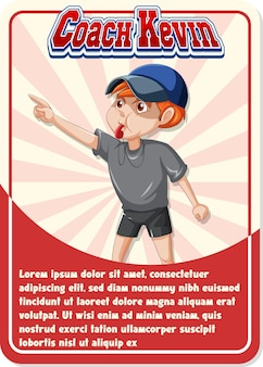 Modèle de carte de jeu de personnage avec mot coach kevin