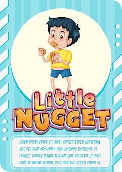 Modèle de carte de jeu de personnage avec mot little nugget