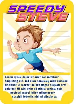 Modèle de carte de jeu de personnage avec le mot speedy steve
