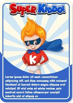 Modèle de carte de jeu de personnage avec le mot super kiddo