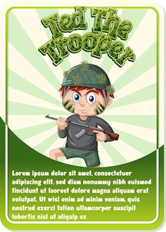 Modèle de carte de jeu de personnage avec le mot ted the trooper