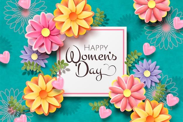 Modèle de carte de jour de la femme heureuse avec des fleurs en papier