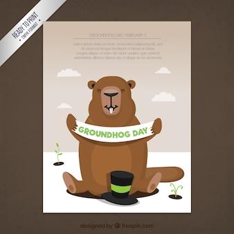 Modèle de carte jour de la marmotte